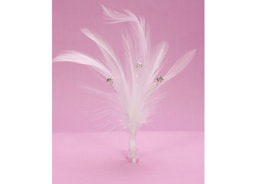 White Diamante Feathers