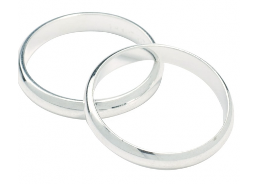 Silver Colour Wedding Rings - 17mm