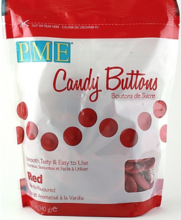 PME Candy Buttons Vanilla Red 340g
