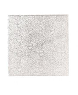 8'' (203mm) Cake Board Square Silver Fern (individually wrapped)