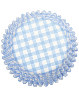 Blue Gingham Printed Baking Cases