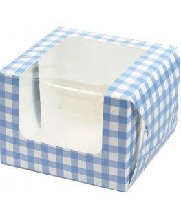 Blue Gingham Single Muffin Boxes Retail Packed 6 piece