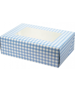Blue Gingham Coloured 6 Cupcake/Muffin Box - 2 piece - single