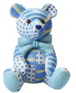 Figurine - Blue Patchwork Ted