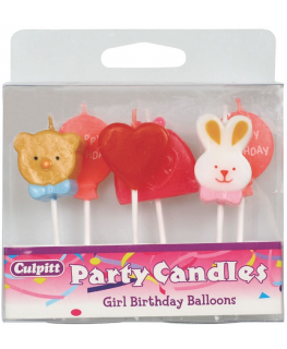 Girls Birthday Balloons Candles - single
