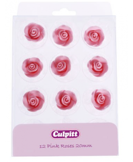 20mm Pink Sugar Roses 12 piece - Single
