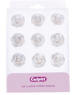 30mm Lustre White Sugar Roses 12 piece - single
