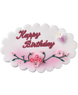 Happy Birthday Flower Sugar Plaque - Single