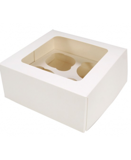White 4 Cupcake/Muffin Box