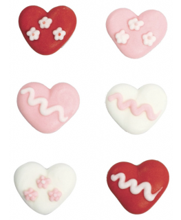 Assorted Hearts Sugar Pipings