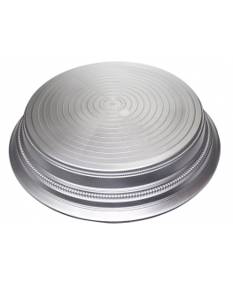Round Plastic Cake Stand - Satin Silver