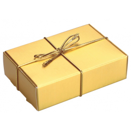 Gold with Gold Elastic Ribbon Wedding Cake Box