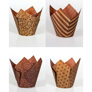 Designer Baking Cases Brown & Gold (200)