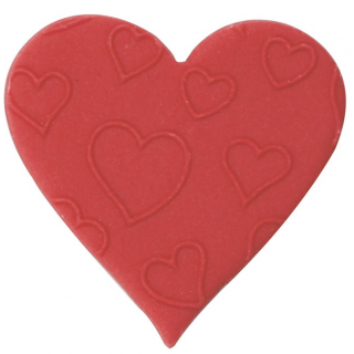 Red Embossed Sugar Heart - 38mm
