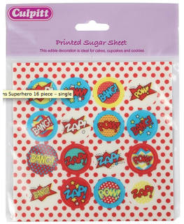 Superhero Decoration Printed Sugar Sheets - 16 piece
