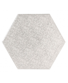 16'' (406mm) Cake Board Hexagonal Silver Fern