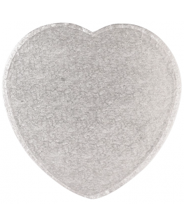 16'' (406mm) Cake Board Heart Silver Fern