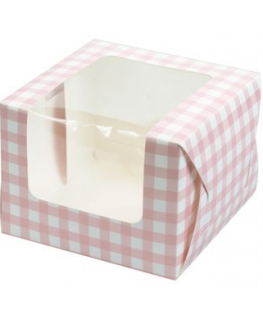 Pink Gingham Single Muffin Boxes 6 piece