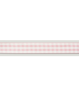 Pink Gingham Ribbon - 25mm x 25m
