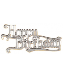 Happy Birthday Silver Colour Motto Retail Pack