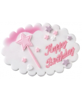 Happy Birthday Pink Wand Sugar Plaque