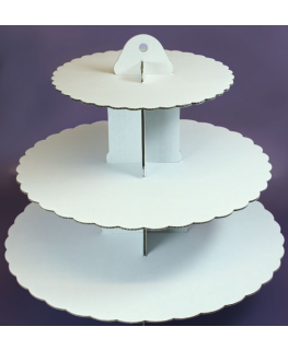 3 Tier White Cupcake Stand - single