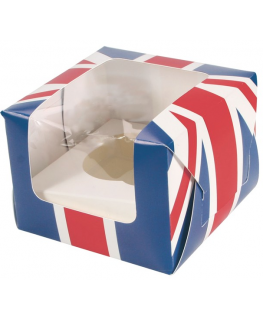 Union Jack Single Cupcake Box