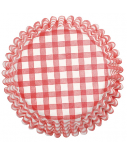 Red Gingham Printed Baking Cases