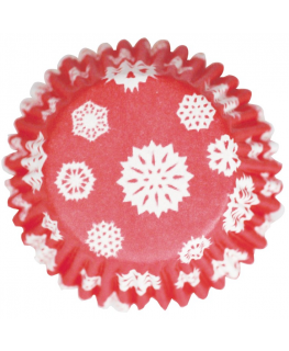 Red Snowflake Printed Baking Cases