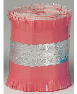 Silver Lace Foil on Pink Paper - 83mm