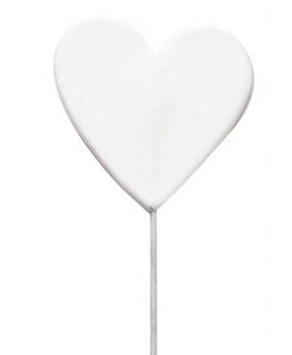 White Sugar Heart on Wire - 40mm