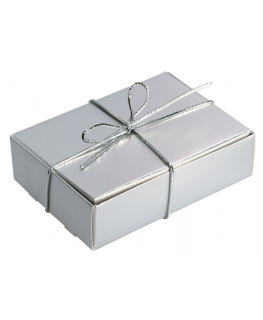 Silver with Silver Elastic Ribbon Wedding Cake Box
