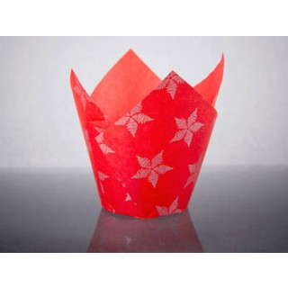 Red/Silver Star Tulip Baking Case (50)
