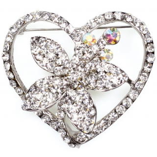 Flower Heart Diamante Brooch